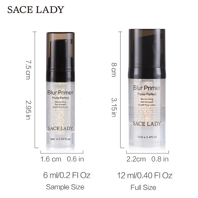 SACE LADY Primer Makeup Oil Control Matte Make Up Face Base Cream 24K Gold Professional Pores Foundation Primer Cosmetic 3