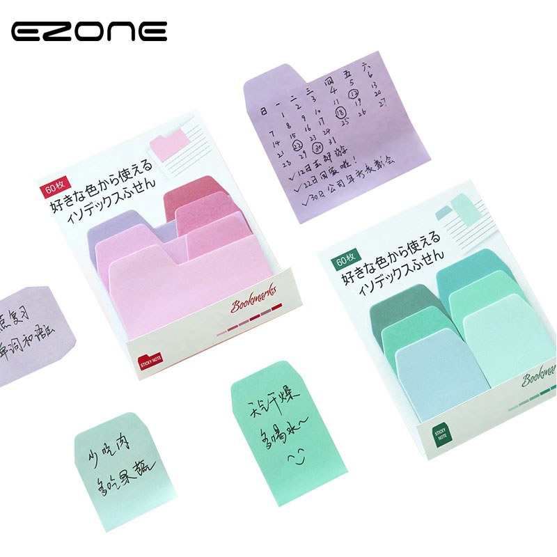 EZONE 6 Colors/Set Sticky Notes Post It Stationery Office Accessory School Supplies Bookmark Kawaii Paper Bookmark Gift kitmmm6445ssppap3030131 value kit post it super sticky large format notes mmm6445ssp and paper mate sharpwriter mechanical pencil pap3030131