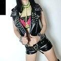 Harujuku 2016 new punk style PU leather vest rivet tops for women black sexy clothing streetwear sexy nightclub singer costume