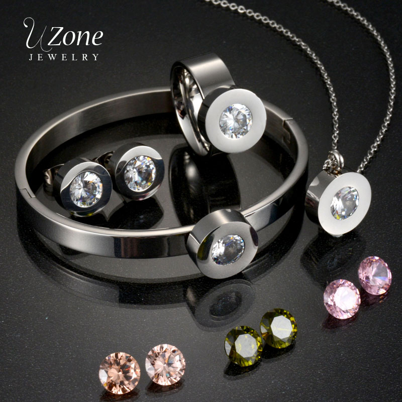 UZone Interchangeable 4 Colors Austria Crystal Bijoux Jewelry Set CZ Crystal Stainless Steel Necklace Earring For Women Gift yoursfs heart necklace for mother s day with round austria crystal gift 18k white gold plated