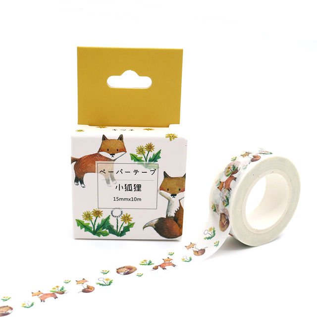 Box Package Kawaii Little Fox Washi Tape Excellent Quality Colorful Paper Masking Tape DIY Decorative Tapes 10m*15mm