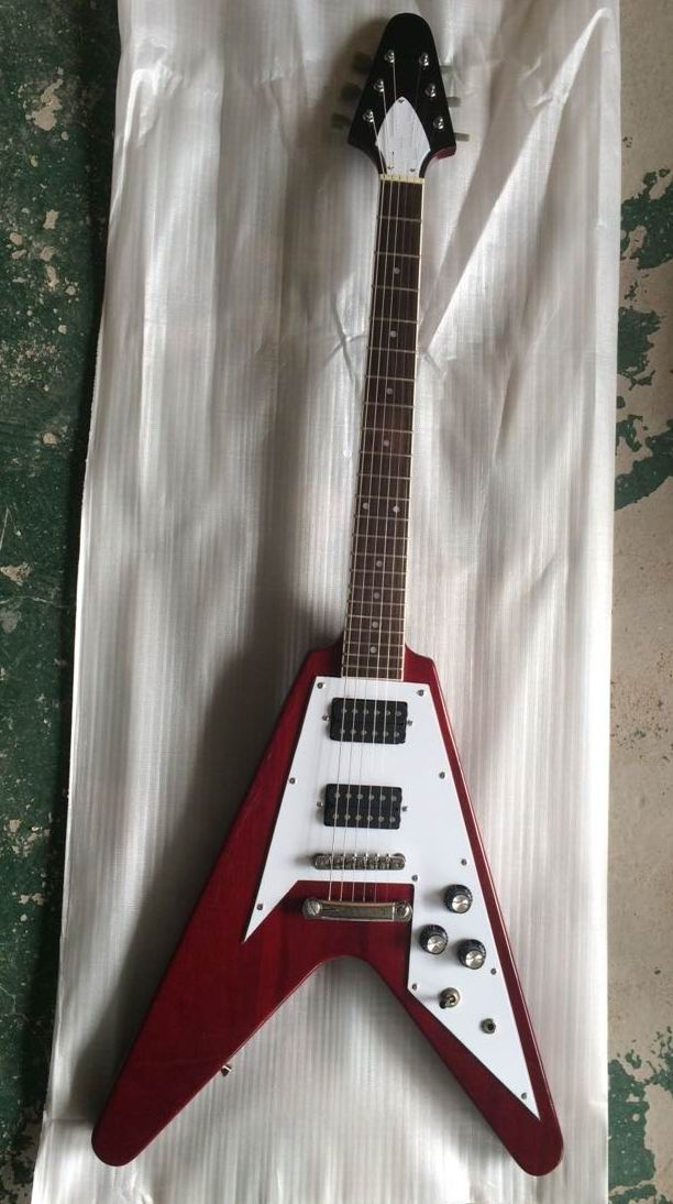 Wholesale New C Custom Flying V Electric Guitar Top quality in red 141105 china custom guitar factory electric guitar flying v standard dot inlay in stock for sale