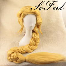 Sofeel synthetic wigs Rapunzel braided ponytail long blonde wig synthetic peruca loira hair wigs harajuku wig