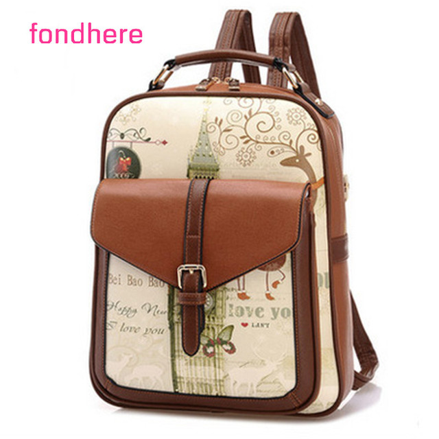 fondhere Women Backpack PU Leather 2017 New Women Shoulder Bag School Teenagers Bags Exquisite Cute Printed Pattern Preppy Style