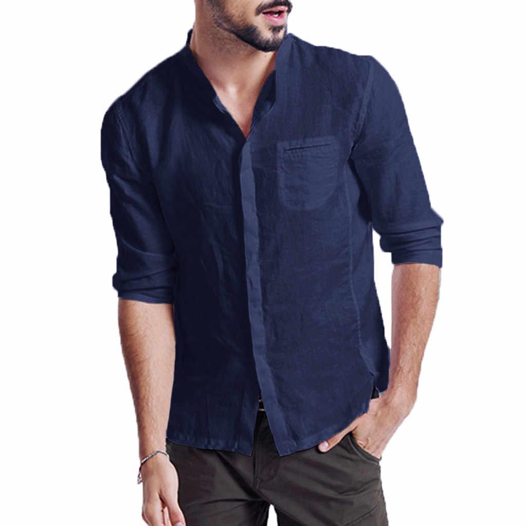 ホット販売夏新スタイル中国ヴィンテージスタイルのメンズシャツターンダウン襟長袖固体リネンシャツプラスサイズの服 2XL