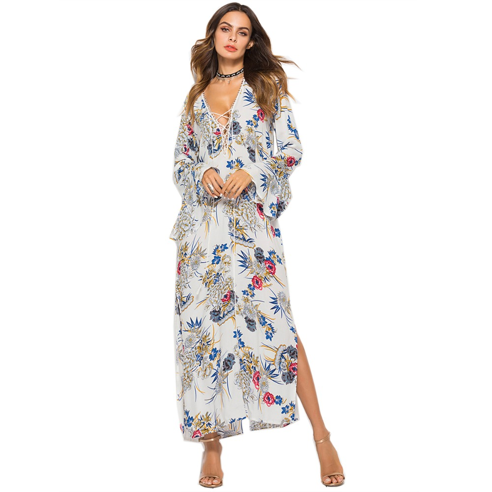 woman rayon dress vestido party printed long floral vestidos V neck chiffon women summer dress loose kaftan holiday boho dress in Dresses from Women 39 s Clothing