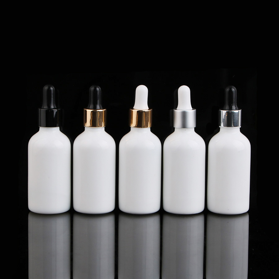 9 Pcs 5 3 oz 50ml Round Frosted white Glass Bottle For Essential Oils romatherapy serum