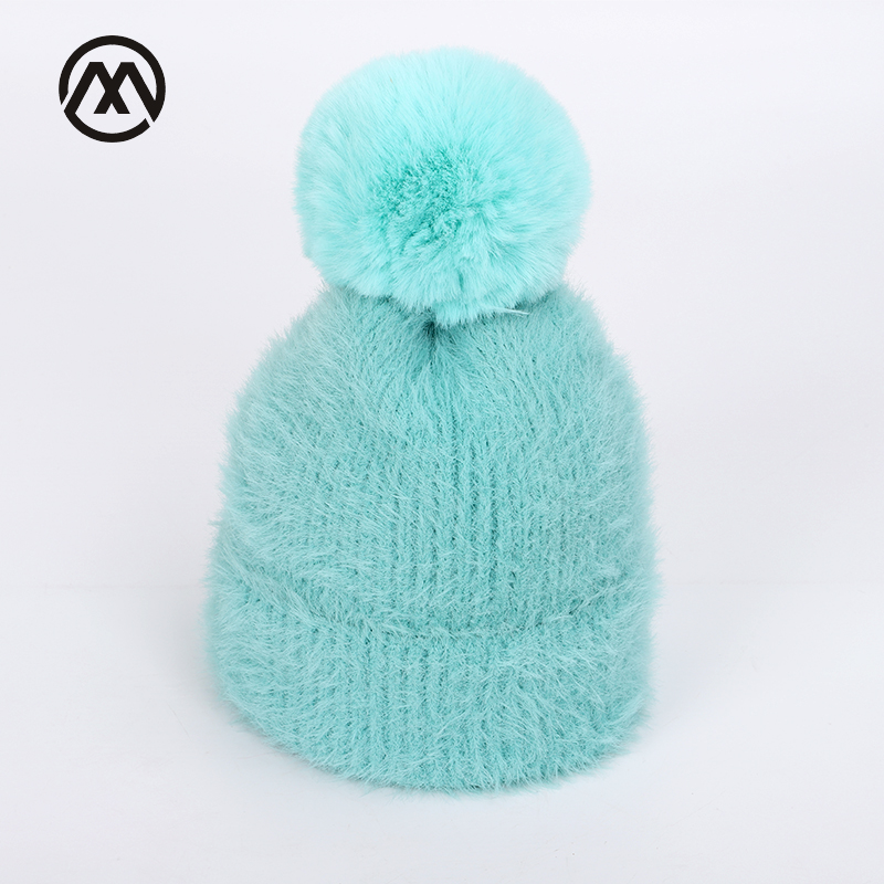 Winter children's solid thick cotton caps warm and comfortable adjustable loose ski hats boy girl   skullies     beanie   Knit pompoms