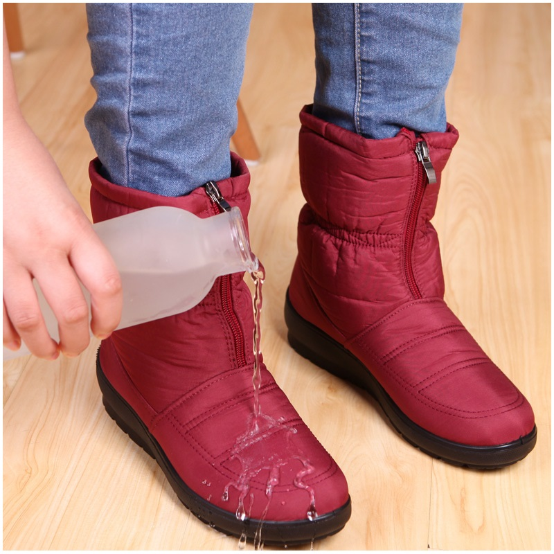 Women Boots Female Winter Waterproof Ankle Boots Warm Snow Boots Ladies Shoes Woman Zipper Fur Insole Botas Mujer Fashion brand women boots thicken warm winter ladies snow boot women shoes woman fur ankle boots chaussure femme botas mujer 2017 svt905