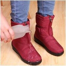 Для женщин Сапоги и ботинки для девочек Женская зимняя обувь водонепроницаемые полусапожки теплые зимние сапоги Дамская обувь женская обувь на молнии Мех стелькой botas mujer модные