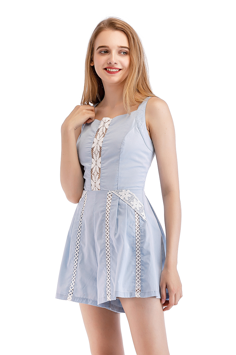4e453a867fdd Chicways Summer Lace Romper Sexy Hollow Out Lace Up Overalls Beach Playsuit  baby blue Sleeveless Backless Women Jumpsuit