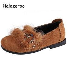 3522adf6 Halozeroo nuevo bebé de invierno de piel de zapatos de los niños de moda  cálida pisos chico marca suave princesa zapatos de diam.