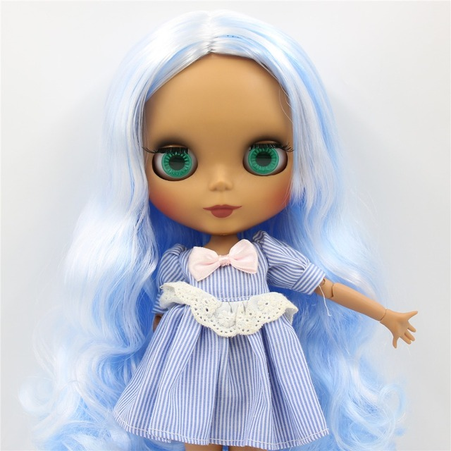 Кукла ICY Neo Blythe белая синяя с волнистыми волосами