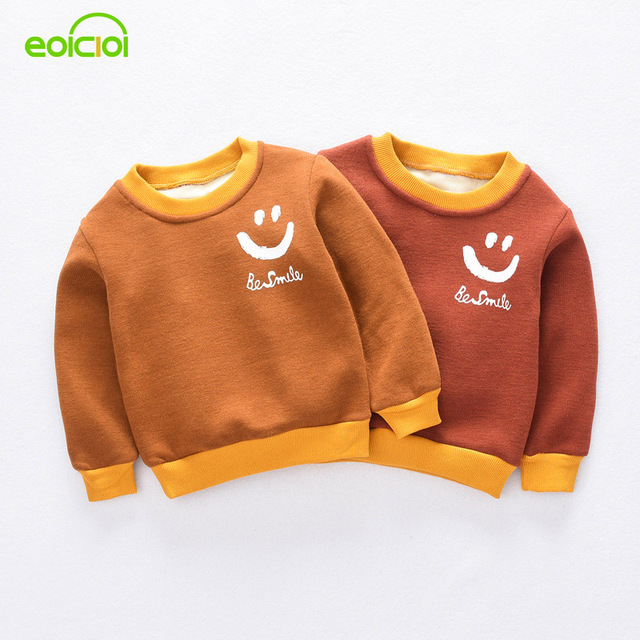 eoicioi smile face baby boys jackets autumn winter pullover thicken warm kids hoodies coats children clothes outerwear