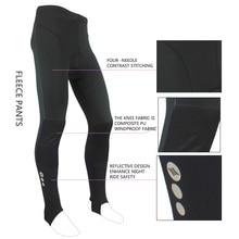 Santic Winter Cycling Pants Men Long Pants Bike Riding Fleece Thermal Cycling Pants Padded Black Knee Windproof Design MC04002