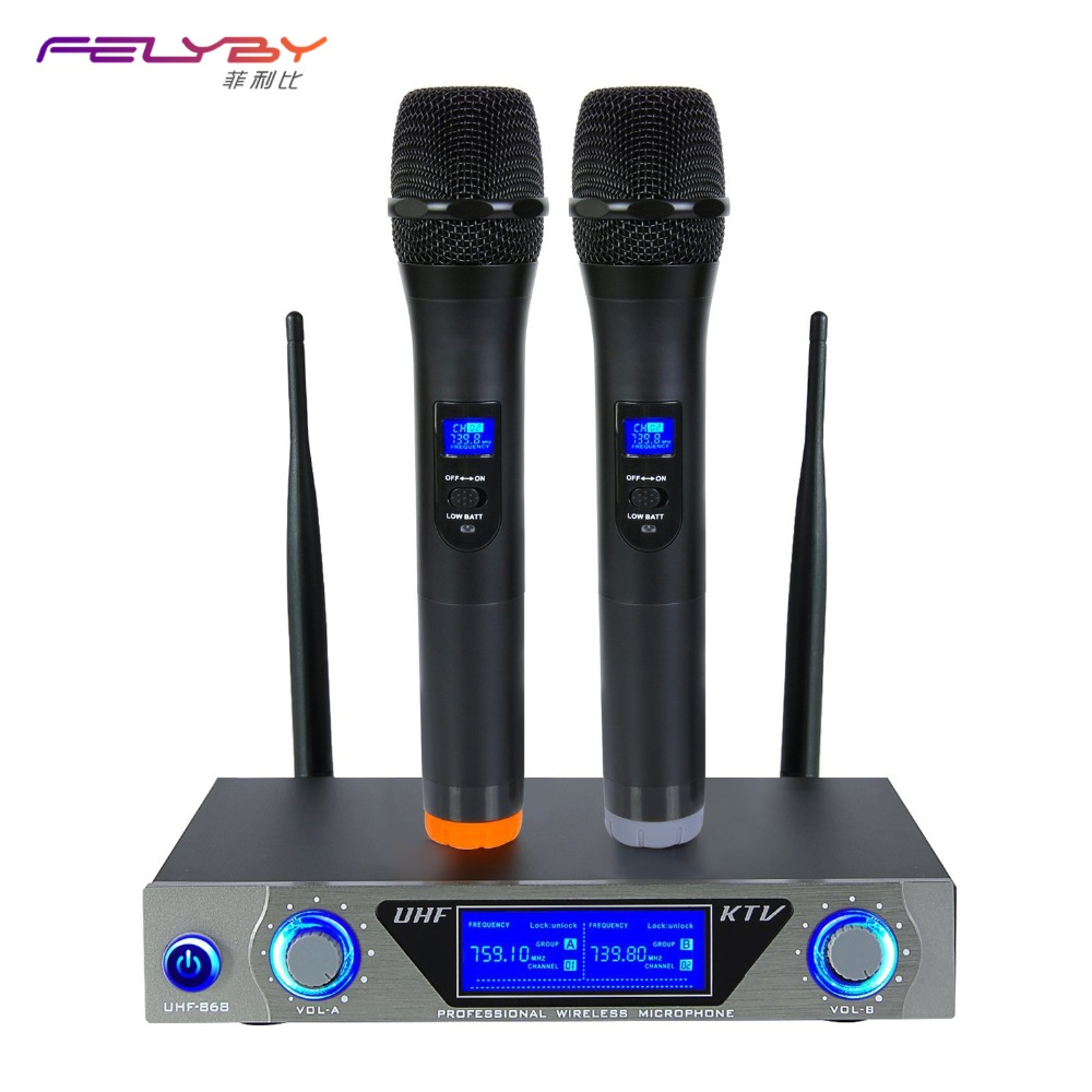FELYBY dual wireless microphone TV DVD karaoke microphone professional microphone for computer or speaker condenser microphone felyby professional bm 800 condenser microphone for computer audio studio vocal recording mic ktv karaoke microphone stand