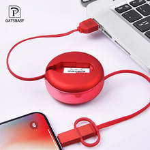 OATSBASF 2 In 1 USB Cable Micro & Type c for Samsung Xiaomi Huawei Retractable Portable Usb C For Android Data