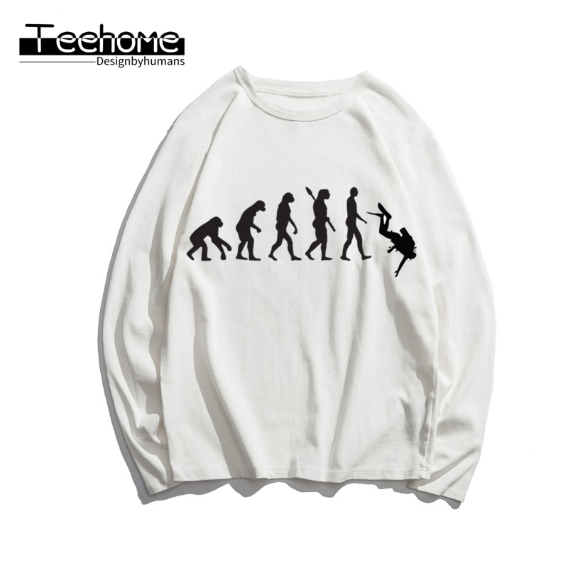 Men's Evolution of Diving Print Long Sleeve Autumn Men and Women Scuba Diver Dive Full Sleeve Harajuku T Shirt Winter Streetwear