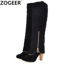Ladies Shoes Long-Boots High-Heel Women's Flock Knee Black Autumn Zipper Dec Sexy Thick