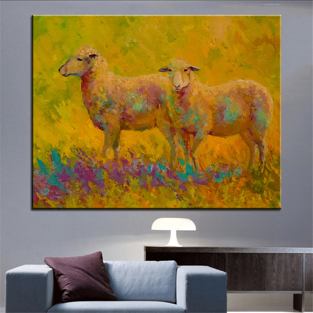 Large size Printing Oil Painting warm glow sheep pair Wall painting ...