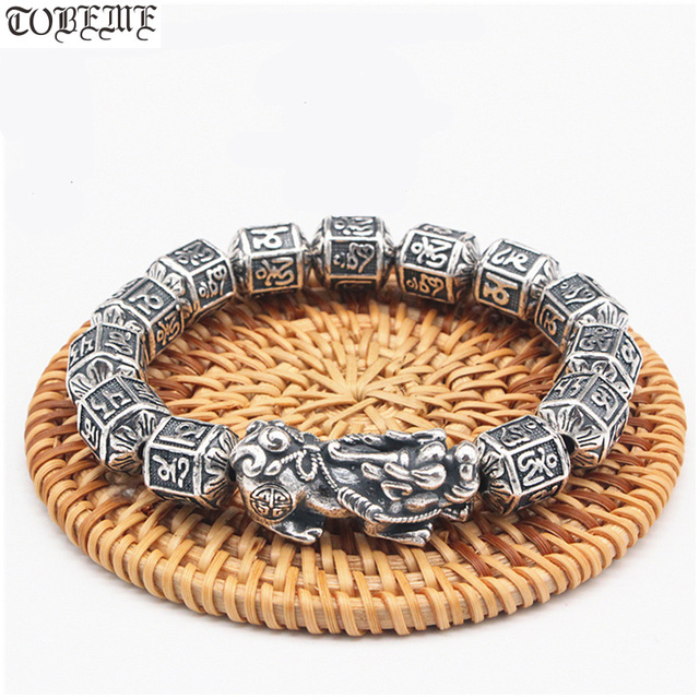 100% Серебряный Тибетский браслет из бусин с шестью словами, счастливый женский браслет на удачу, браслет из бисера Pixiu
