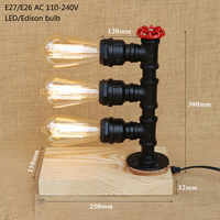 Vintage retro iron wood black water pipe steam punk table lamp with switch e27 / e26 led lights for bedroom bedside office study|Desk Lamps| |  -