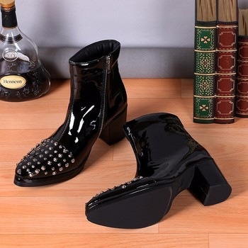 Mens Winter Fall Boots Rivets Stud Ankle High heels Patent leather Men's Boots Black Stage Party Boots Plus Size 38-46