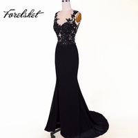 sexy See throug Side slit evening Dresses 2018 Black prom dresses for party gowns with lace Sleeveless Vestidos de Fiesta