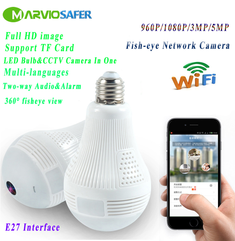 Marviosafer 3MP 5MP WIFI 3D IP Wireless Network VR Camera 360 Degree Panoramic View Fisheye Led Light Bulb 1080P Camera