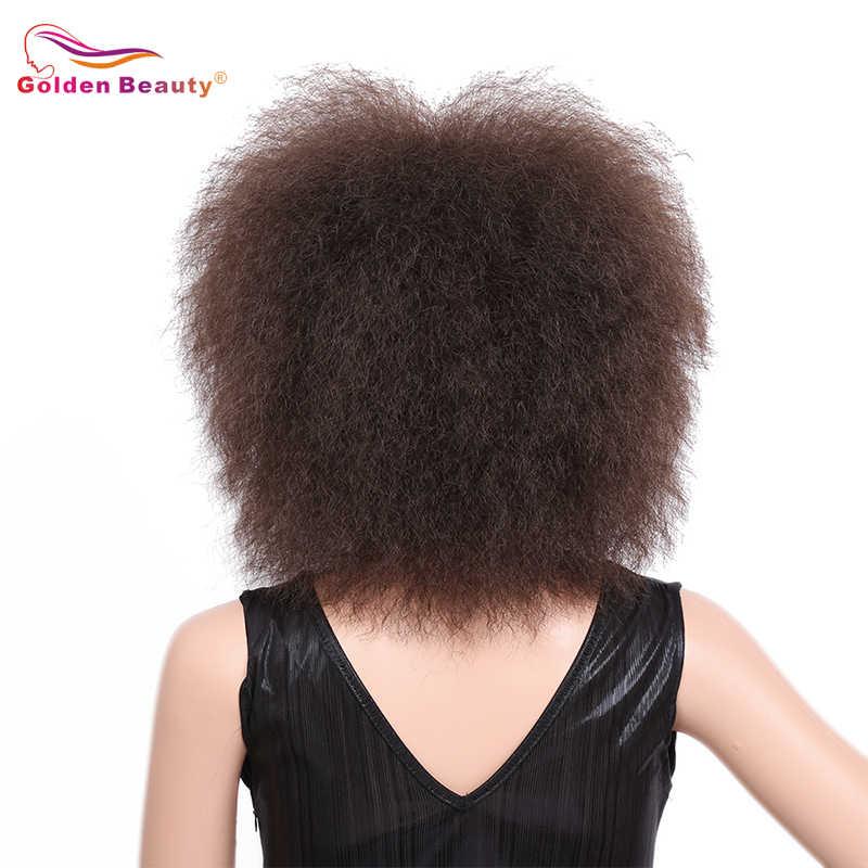 Gouden Schoonheid Korte Afro Pruik Kinky Krullend Natuurlijke Hoge Temperatuur Fiber Afro-amerikaanse Synthetische Pruik Voor Vrouwen Rood Bruin Zwart