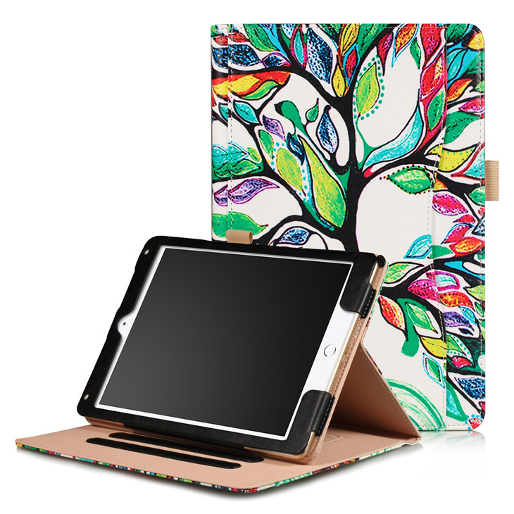 Happy tree Wallet case with hand loop, stand and leather style for iPad 9.7 (2017, 2018, A1893), Air 1,2