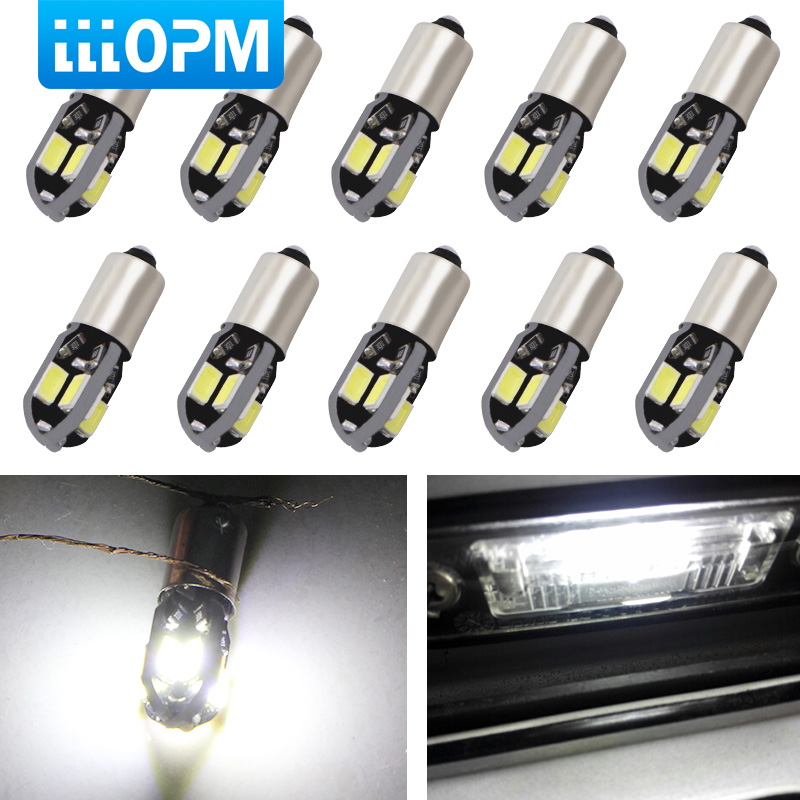 <font><b>10</b></font> <font><b>PCS</b></font>/Lot Warm White or White Car <font><b>LED</b></font> BA9S T4W Car <font><b>LED</b></font> Bulbs 8 SMD 5730 Reading Side Marker Light License Plate Door Lamp 12V image