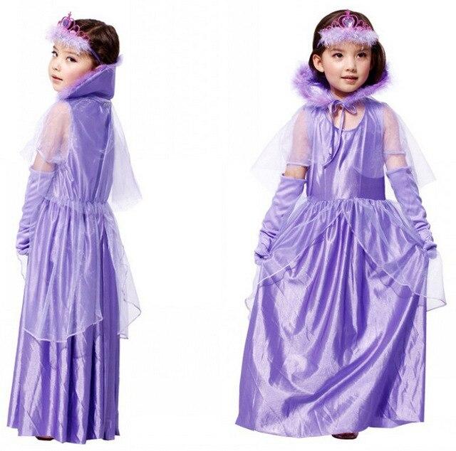 Бесплатная Доставка Фиолетовый Цвет Дети Девочки Платье Принцессы Хэллоуин Карнавал Маскарад Косплей Одежда Карнавальные Костюмы для Детей