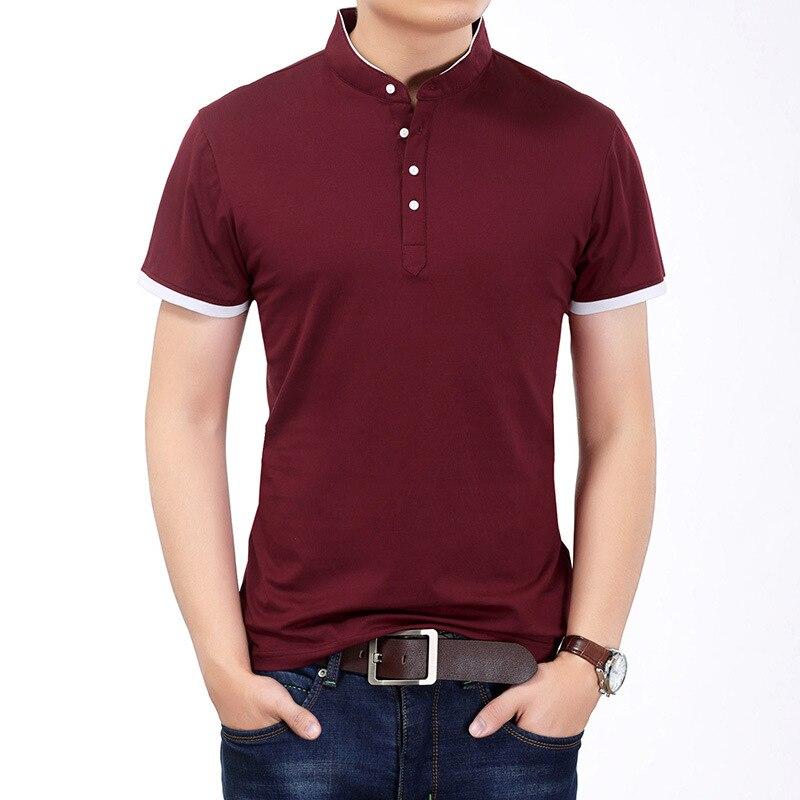 2018 été hommes couleur unie Slim Fit à manches courtes t-shirt mâle col Mandarin décontracté T-Shirts col Mandarin bouton robe