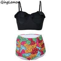 2017 Najnowsze Zestawy Plus Rozmiar Stroje Kąpielowe Kobiety Strój Kąpielowy Bikini Push Up wysokiej Talii strój Kąpielowy Halter Top Plaża Swim Wear S Do 3XL
