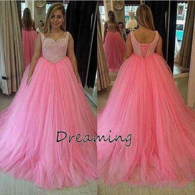 Elegant Pink Pearls Top 2017 Vestidos de Quinceañera con Sweetehart ...