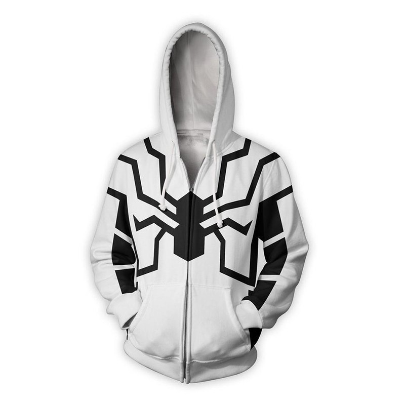 BIANYIFANG 2018 Men and Women Hooded Spiderman 3D Printed Hoodies Tracksuit Casual Hooded Zipper Hip Hop Size Tops