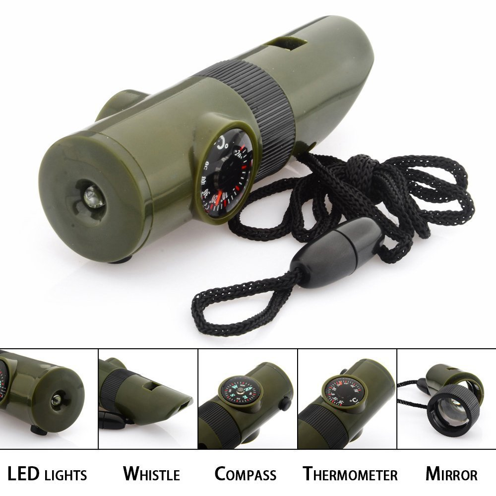 7 In 1 Mini SOS Survival Kit Camping Survival Whistle With Compass Thermometer Flashlight Magnifier Tools Outdoor Hiking