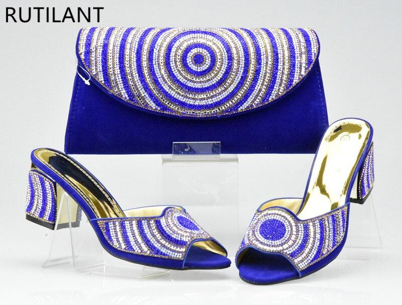 De Noir Italiennes Ensemble Couleur Bleu orange Parti Strass Décoré or rouge Dames Et Sac bleu Avec Chaussures Africain qCEdOq