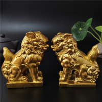 2 Pcs Golden Chinese Lions Statue Sculptures Animals Figurines Feng Shui Ornaments Craft Garden Decoration Statues For Home