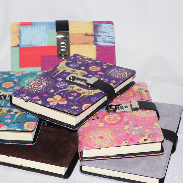creative PU leather notebook lock writing pads binder password school diary A5 supplies