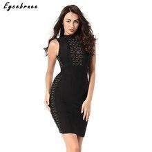 Eycebruee 2017 Sexy Women Winter Sequined Bandage Dress Celebrity Party Dresses Turtleneck Black Bodycon Mini Dresses