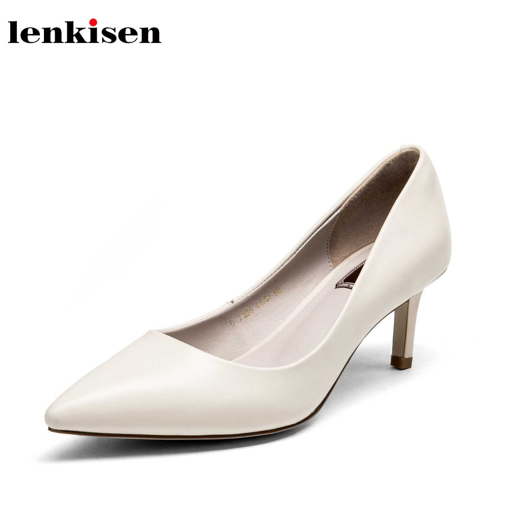 Lenkisen cow leather pointed toe fairy women pumps solid simple classic style thin high heels shining crystal fashion shoes L6Lenkisen cow leather pointed toe fairy women pumps solid simple classic style thin high heels shining crystal fashion shoes L6