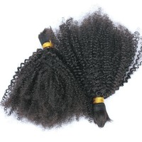 100% Human Braiding Hair Bulk No Weft 4B 4C Afro Kinky Curly Brazilian Virgin Human Hair For Braiding Prosa Hair Products