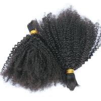 100% Human Braiding Hair Bulk No Weft 4B 4C Afro Kinky Curly Brazilian Virgin Human Hair For Braiding Prosa Hair Products