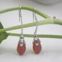 Real Sterling S925 Silver Earrings Red Agate Flower For Women Ladies Girl 55*9mm Dangle Earrings Hook