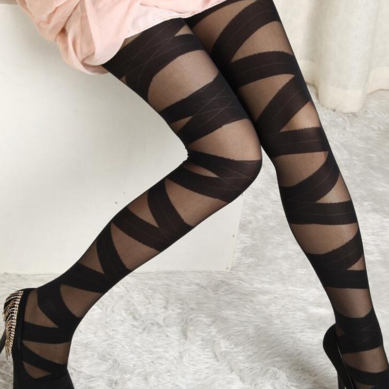 2017 New Arrival Sexy Women Goth Rocker Cross Bandage Straps Hot Sale Stocking Tights Black Hot
