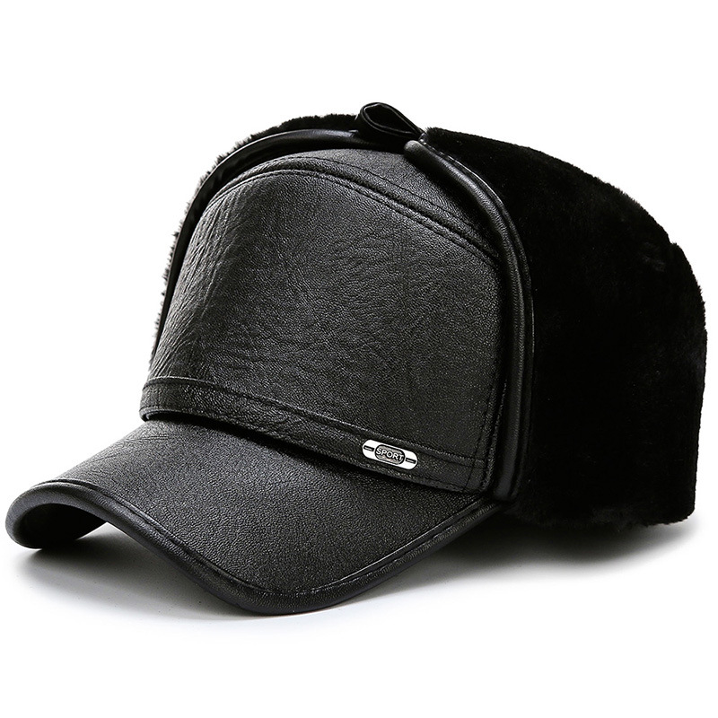 Winter Leather Baseball Cap For Men With Ear Protection Cap Warm Thicker Snapback Cap Men Father's Winter Hats Casquette