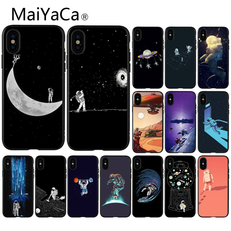 Half-wrapped Case Maiyaca Black With White Moon Stars Space Astronaut Phone Case For Iphone 5 5sx 6 7 7plus 8 8plus X Xs Max Xr Fundas Capa