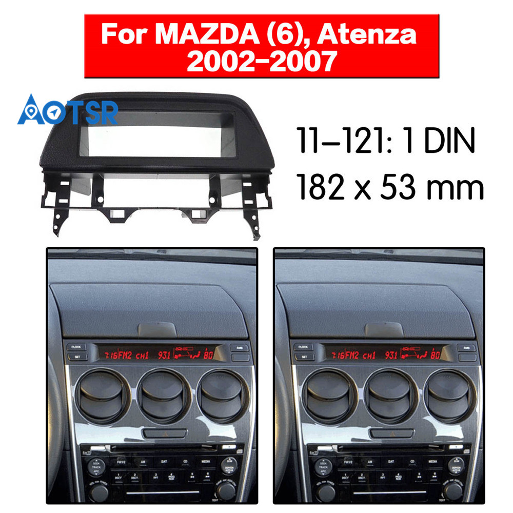 1 Din Fascia Radio Panel for MAZDA (6) Atenza 2002-2007 Frame Dash Fitting Facia Face Plate Adapter Cover Bezel CD DVD Black image